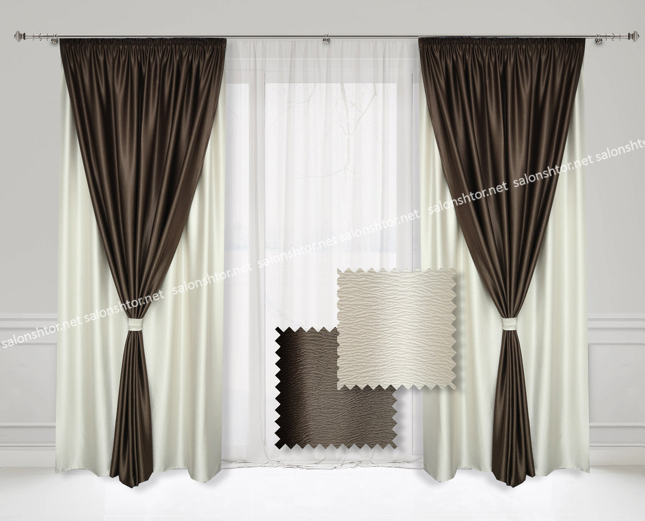 Комплект двойных штор  из Атласа  ( 4 шт) Шоколад + Белый