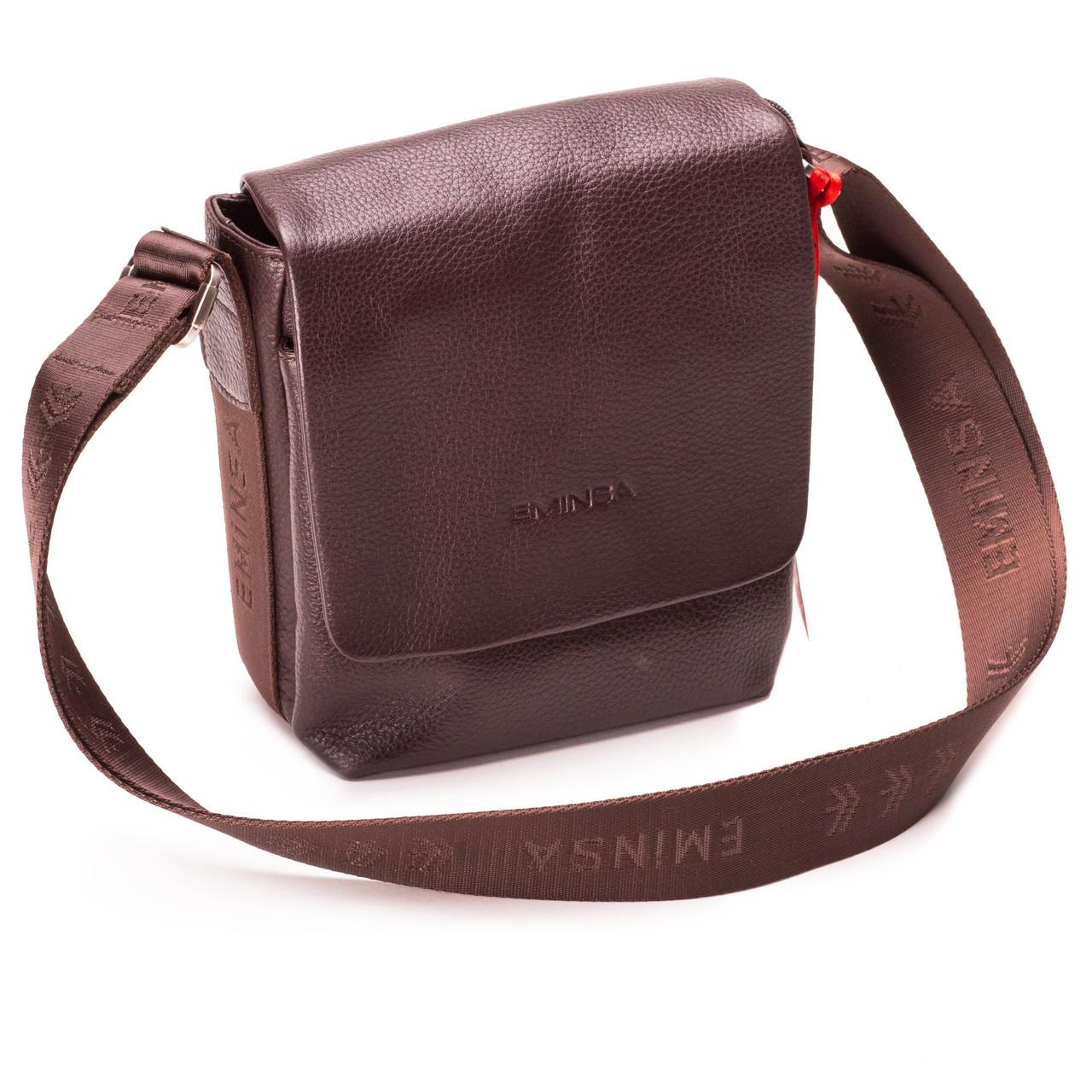 Мужская сумка через плечо кожаная коричневая Eminsa 6052-17-3 bfe9e100ca7f7