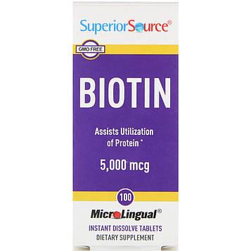 Superior Source, MicroLingual, Биотин 100 таблеток