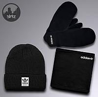 Выгодный зимний комплект шапка + бафф + варежки Adidas, Реплика