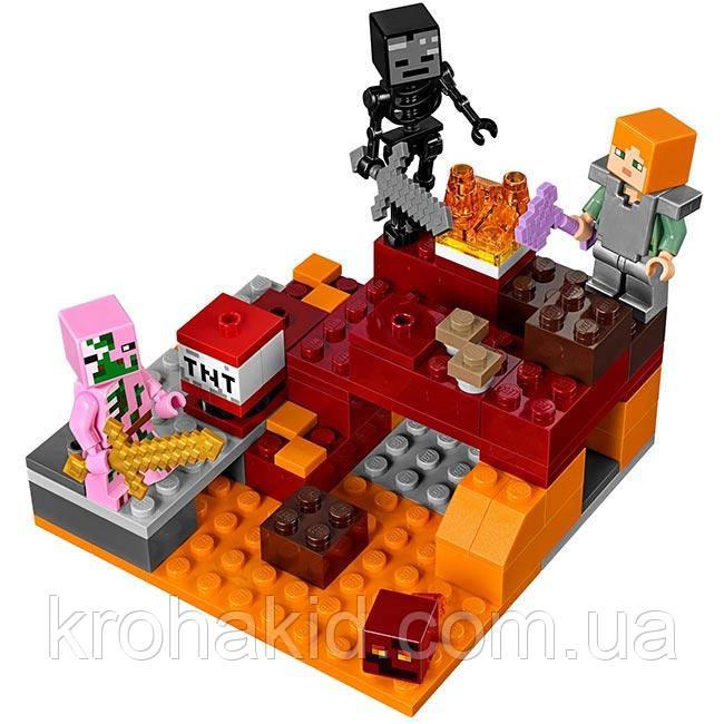 """Конструктор BELA 10808 """"Бой в нижнем мире"""" (аналог Lego Майнкрафт, Minecraft), 96 деталей"""