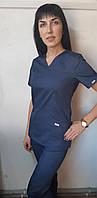 Женский медицинский костюм однотонный Классик короткий рукав 48, темный джинс