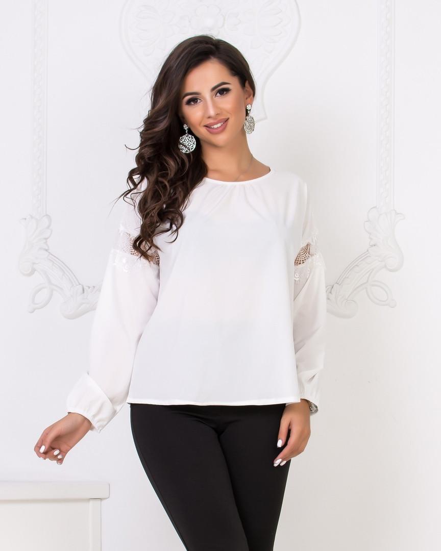 Блуза женская с отделкой из кружева  42-44. 46-48.50-52.54-56 р-ры