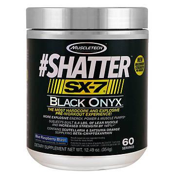 Muscletech, #Shatter, SX-7, черный оникс, перед тренировкой, Blue Raspberry Blast, 12,49 унц. (354 г)