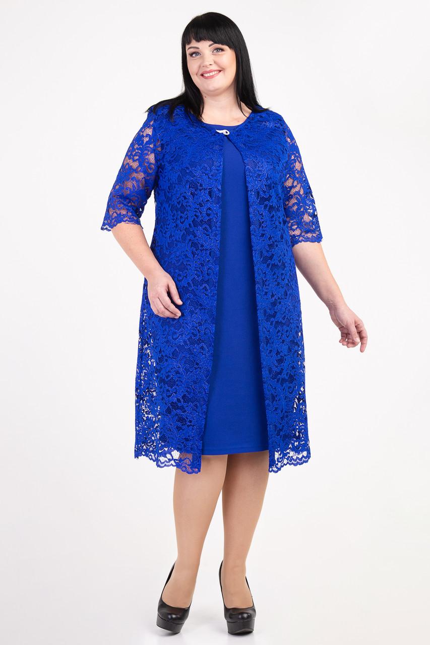 Нарядное платье с кардиганом из гипюра с 54 по 64 размер