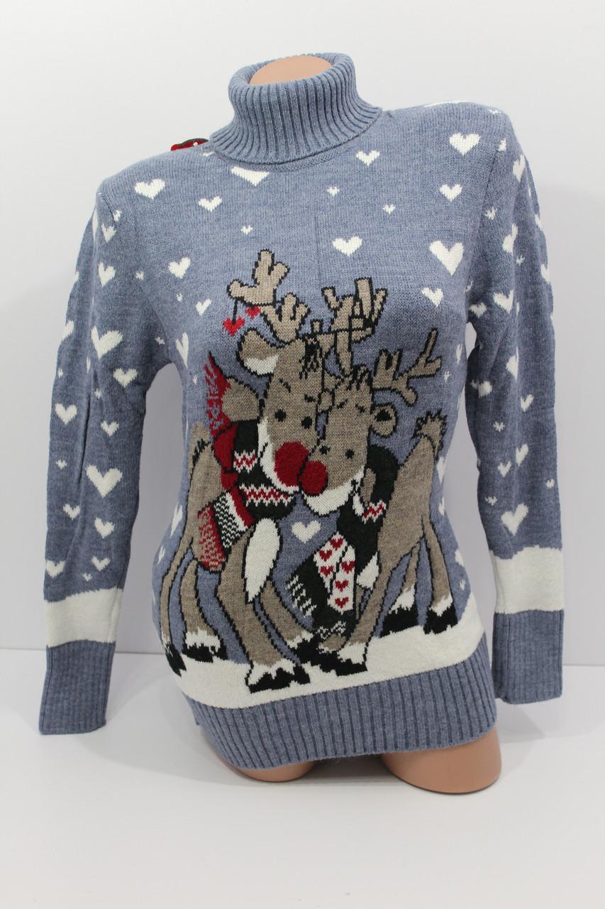 Шерстяні жіночі светри з новорічними оленями оптом і в роздріб G 4640