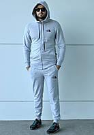 Спортивный серый костюм на молнии принт The North Face с капюшоном