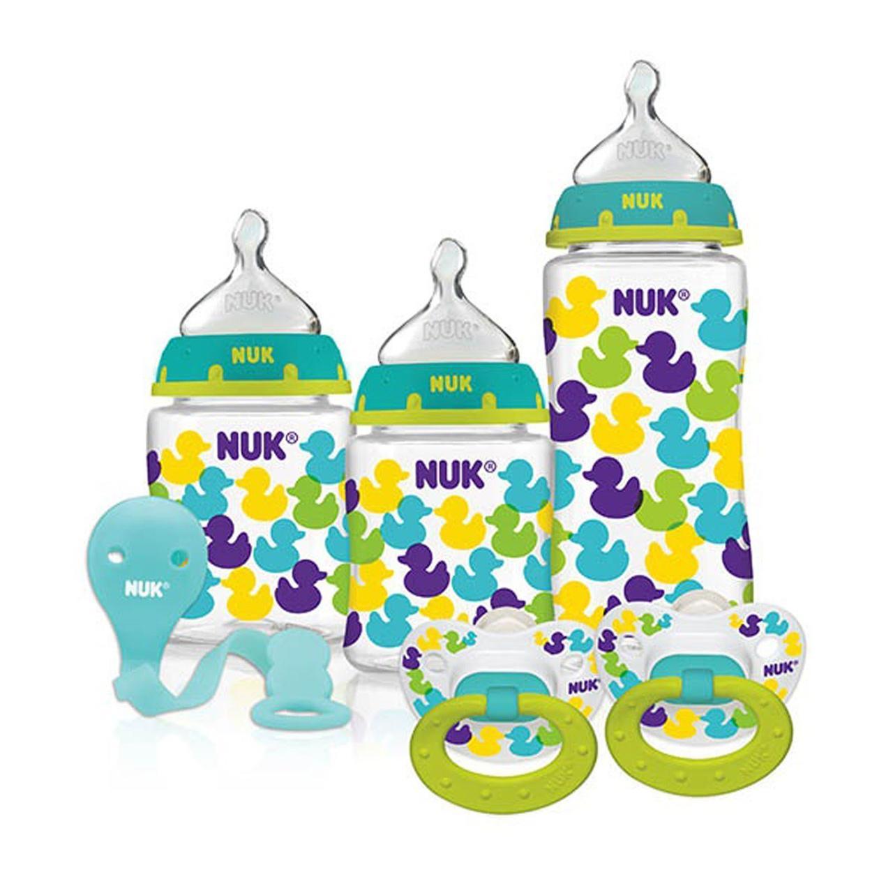 NUK, Набор бутылочек с комфортными для ребенка сосками Perfect Fit и пустышкой в подарок, узор в виде уточек, с 0 месяцев, 1 набор