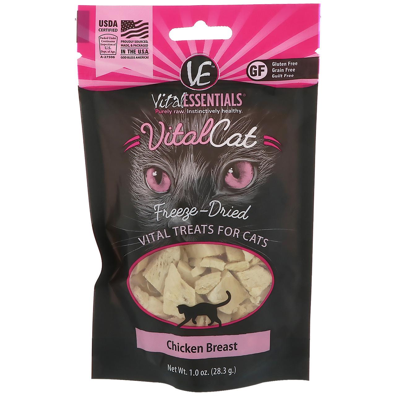 Vital Essentials, Vital Cat, высушенное сублимацией лакомство для кошек, куриная грудка, 1,0 унц. (28,3 г)