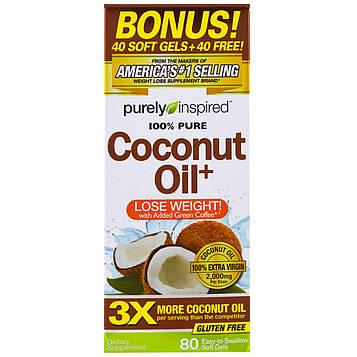 Purely Inspired, Кокосовое масло+, 80 легко проглатываемых мягких желатиновых конфет
