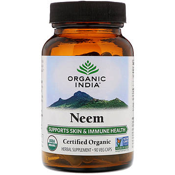 Organic India, Органический продукт, ним, 90 вегетарианских капсул