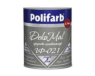 Грунт алкидный POLIFARB ГФ-021 DEKOMAL антикоррозионный, красно-коричневый, 2,7кг