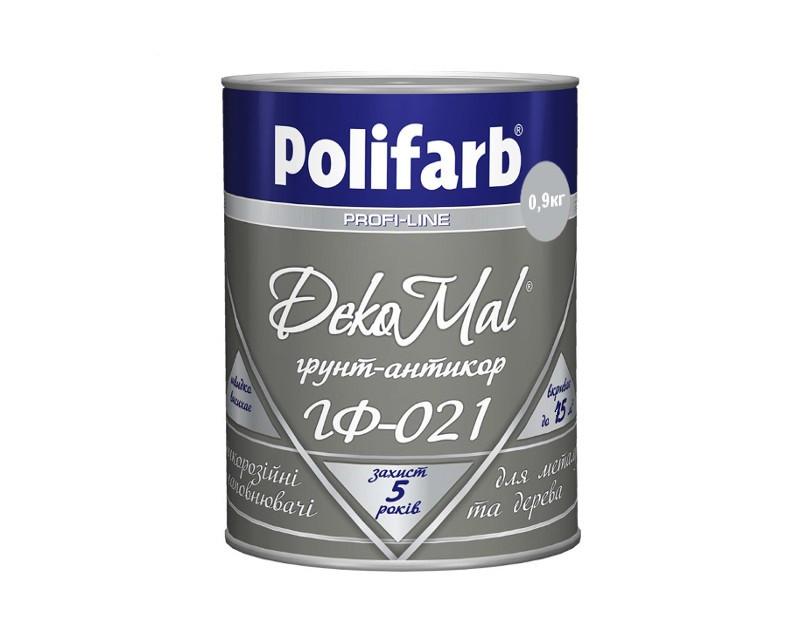 Грунт алкидный POLIFARB ГФ-021 DEKOMAL антикоррозионный, серая, 0,9кг