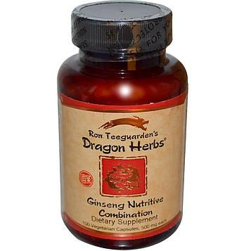 Dragon Herbs, Женьшеневая питательная смесь, 500 мг, 100 капсул на растительной основе