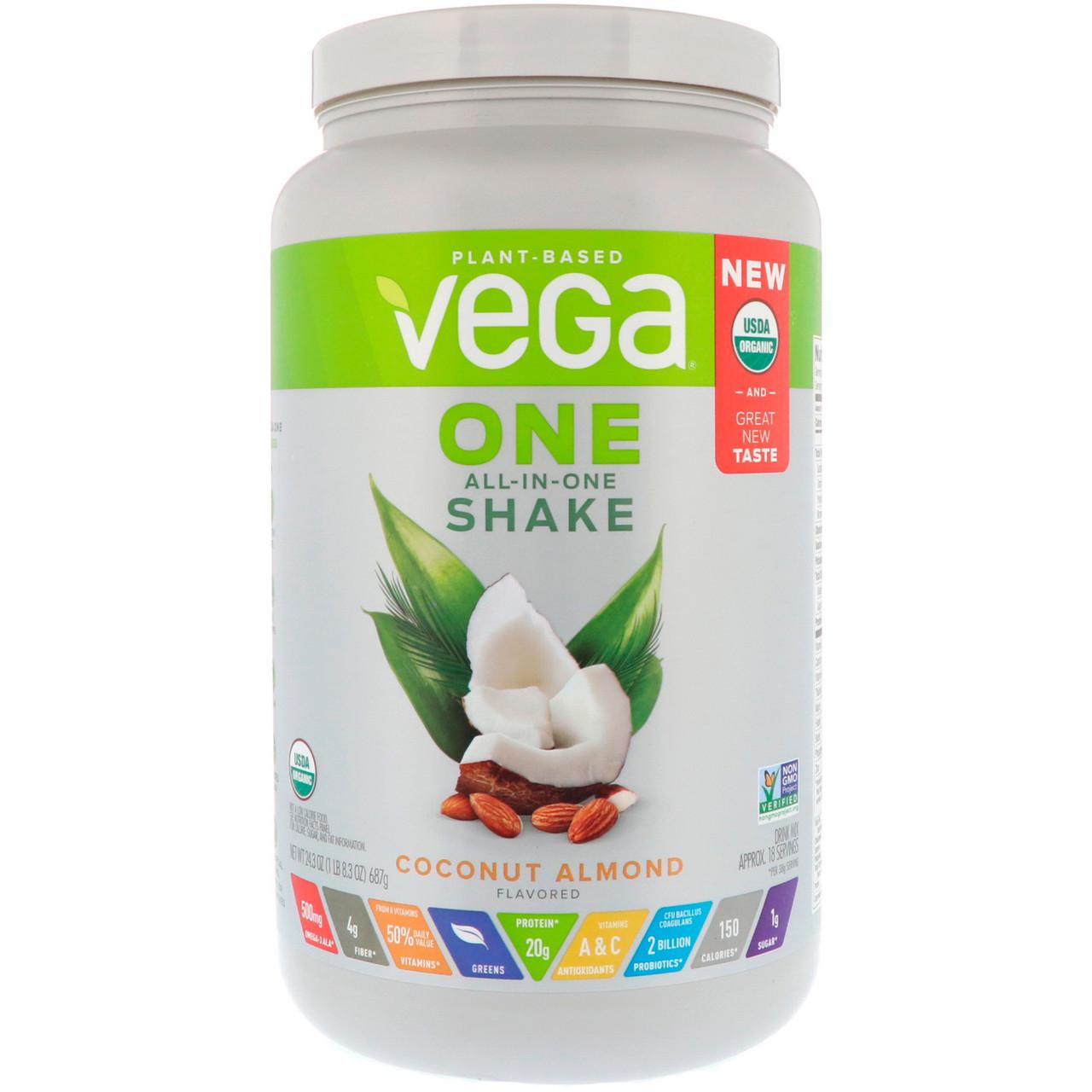 Vega, One, комплексный коктейль, кокос-миндаль, 24,3 унции (687 г)