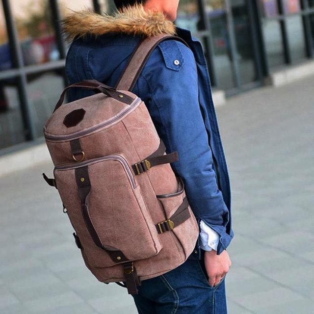 Рюкзак мужской. Дорожный, вместительный рюкзак. Сумка-рюкзак с холста. Качественный рюкзак.