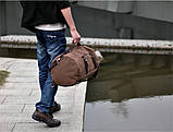 Рюкзак мужской. Дорожный, вместительный рюкзак. Сумка-рюкзак с холста. Качественный рюкзак., фото 4
