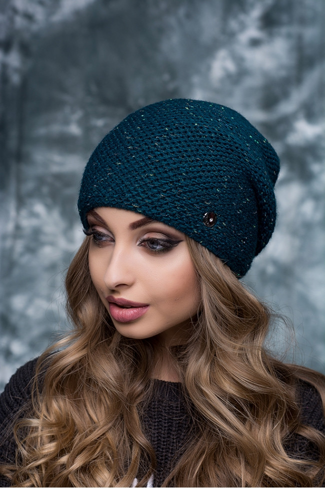 Женская шапка с люрексом Тиана волна-бутылка