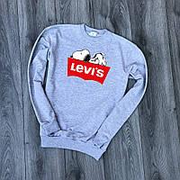 Свитшот серый Levis snoopy logo | Кофта стильная