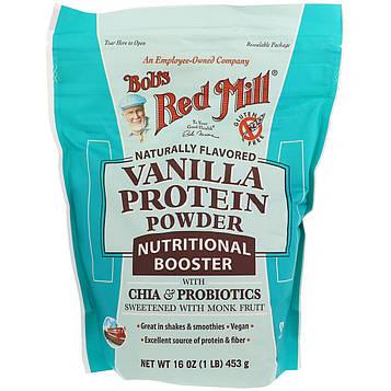Bobs Red Mill, Ванильный протеиновый порошок, питательный состав с чиа и пробиотиками, 453 г (16 унций)