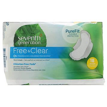 Seventh Generation, Free & Clear, ультра-тонкие прокладки с крылышками, для регулярных выделений, 18 прокладок