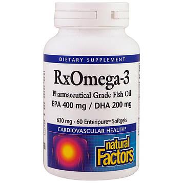 Natural Factors, RxOmega-3, EPA 400 mg /DHA 200 mg, 630 mg, 60 Enteripure Softgels