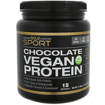 California Gold Nutrition, Шоколадный веганский протеин, горох и коричневый рис, без сои, без ГМО 17.99 унц. (510 г)