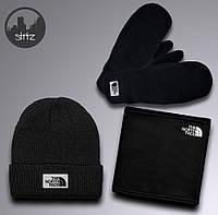 Выгодный зимний комплект шапка + бафф + варежки The North Face (черный), Реплика
