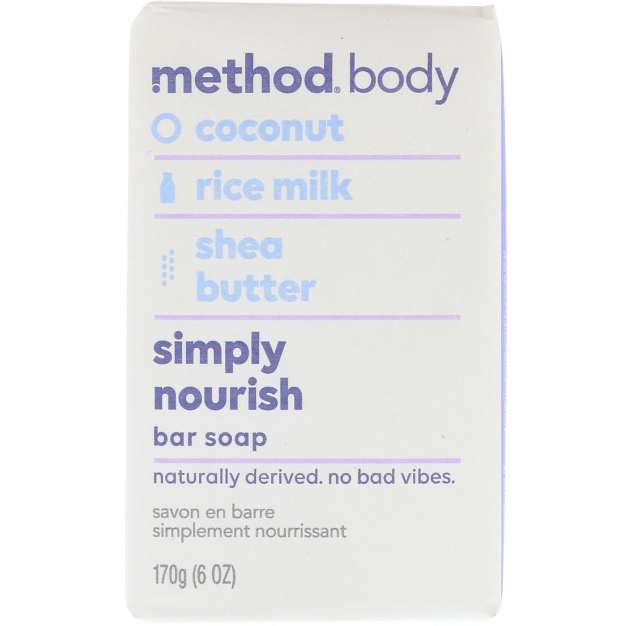 Method, Для тела, простое питание, кусоковое мыло, 6 унц. (170 г)