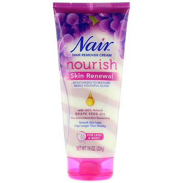 Nair , Hair Remover Cream, Nourish, Skin Renewal With Grape Seed Oil For Legs & Body, 7.9 oz (224 g)