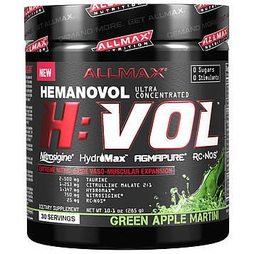 ALLMAX Nutrition, H:VOL, Предтренировочный комплекс с оксидом азота + средство для увеличения тока крови, Зеленое яблоко и мартини, 285 г