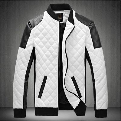 Кожаная мужская куртка! Стильная курта из экокожи (кожзам)! Куртка черно-белая на молнии!