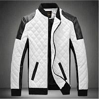 Кожаная мужская куртка! Стильная курта из экокожи (кожзам)! Куртка черно-белая на молнии!, фото 1