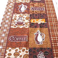 Готовое вафельное полотенце с кофейными зернами и заварником Coffe 45х70 см