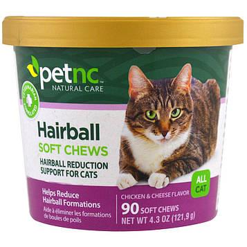 Petnc NATURAL CARE, Естественный уход за питомцами, мягкие жевательные пастилки от «комков шерсти», все вкусы для кошек, курица и сыр, 90 мягких