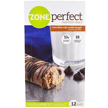 ZonePerfect, Питательные батончики, печенье с шоколадной крошкой, 12 батончиков, 1.58 унции (45 г) каждый