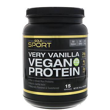 California Gold Nutrition, Веганский протеин экстра ваниль, горох и коричневый рис, без сои, без ГМО 16 унц. (454 г)