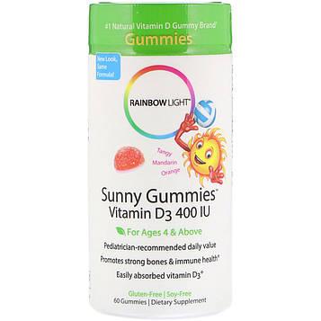 Rainbow Light, Sunny Gummies, витамин D3, терпки мандарин и апельсин, 400 МЕ, 60 жевательных пастилок