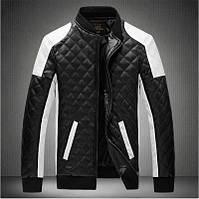 Кожаная мужская куртка! Стильная курта из экокожи (кожзам)! Куртка двухцветная на молнии!, фото 1