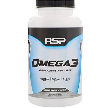 RSP Nutrition, Омега-3, 200 мягких таблеток