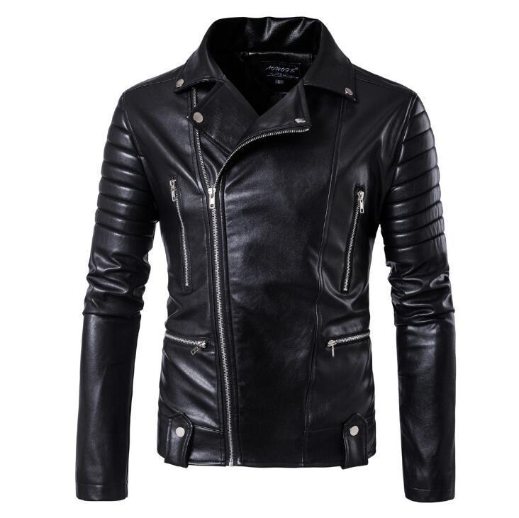 Кожаная мужская куртка! Стильная курта из экокожи (кожзам)! Куртка косуха черная!