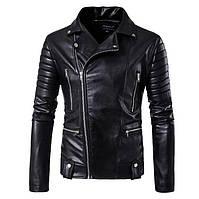 Кожаная мужская куртка! Стильная курта из экокожи (кожзам)! Куртка косуха черная!, фото 1
