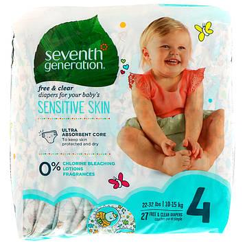 Seventh Generation, Для малышей, Чистые и сухие подгузники, Размер 4, 22-32 фунта (10-15 кг), 27 подгузников