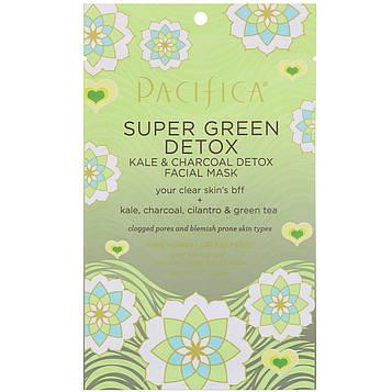 Pacifica, Super Green Detox, маска для очищения лица с капустой и углем, 0,67 ж. унц. (20 мл)
