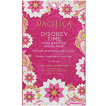 Pacifica, Disobey Time Rose & Peptide Facial Mask, 1 Mask, 0.67 fl oz (20 ml)