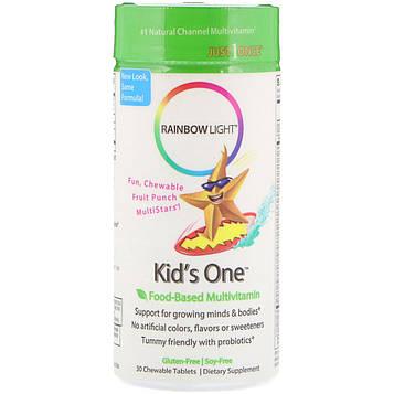 Rainbow Light, Kids One, MultiStars, Пищевые мультивитамины, фруктовый пунш, 30 таблеток