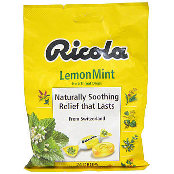 Ricola, Травяные пастилки для горла, лимонная мята, 24 пастилки