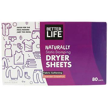 Better Life, Салфетки с натуральной пропиткой мягчителем-антистатиком, 80 салфеток