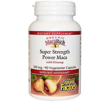 Natural Factors, Органическая мака MacaRich, супер сильная, мощная мака, с женьшенем, 500 мг, 90 растительных капсул