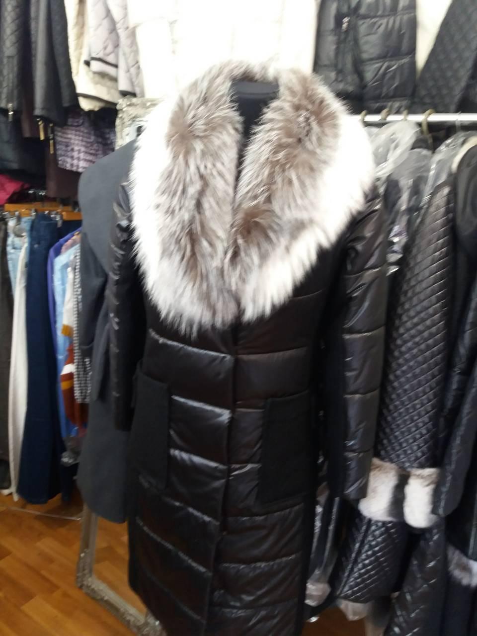 Женское демисезонное пальто натуральный мех